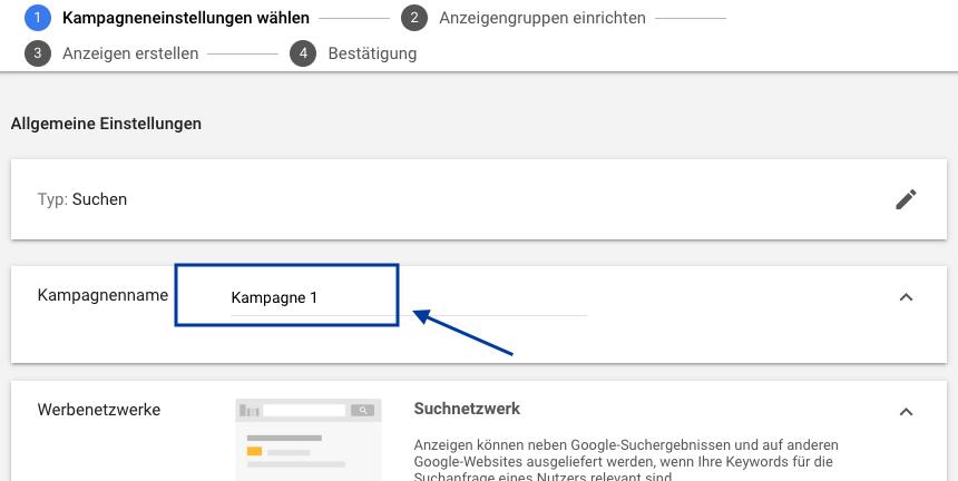 Google Ads Kampagnen Name